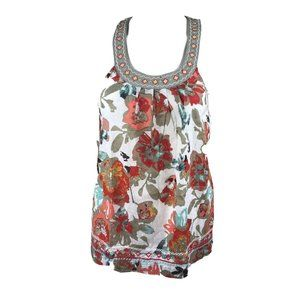 Floral Print Tank Top Embroidery Collar NWT